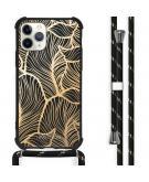 Design hoesje met koord voor de iPhone 11 Pro Max - Bladeren - Goud / Zwart