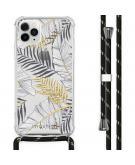 Design hoesje met koord voor de iPhone 11 Pro Max - Bladeren - Zwart / Goud