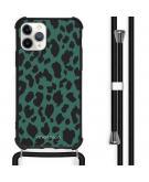 Design hoesje met koord voor de iPhone 11 Pro Max - Luipaard - Groen / Zwart