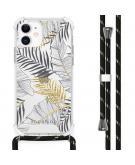 Design hoesje met koord voor de iPhone 12 Mini - Bladeren - Zwart / Goud