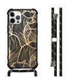 Design hoesje met koord voor de iPhone 12 (Pro) - Bladeren - Goud / Zwart