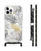Design hoesje met koord voor de iPhone 12 (Pro) - Bladeren - Zwart / Goud