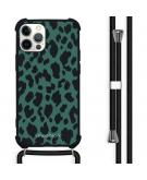 Design hoesje met koord voor de iPhone 12 Pro Max - Luipaard - Groen / Zwart