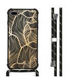 Design hoesje met koord voor de iPhone 8 Plus / 7 Plus - Bladeren - Goud / Zwart