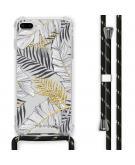 Design hoesje met koord voor de iPhone 8 Plus / 7 Plus - Bladeren - Zwart / Goud