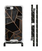 Design hoesje met koord voor de iPhone 8 Plus / 7 Plus - Grafisch Koper - Zwart