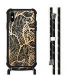 Design hoesje met koord voor de iPhone X / Xs - Bladeren - Goud / Zwart