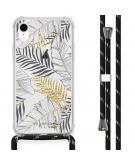 Design hoesje met koord voor de iPhone Xr - Bladeren - Zwart / Goud