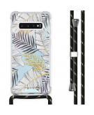 Design hoesje met koord voor de Samsung Galaxy S10 - Bladeren - Zwart / Goud