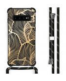 Design hoesje met koord voor de Samsung Galaxy S10 Plus - Bladeren - Goud / Zwart