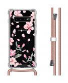 Design hoesje met koord voor de Samsung Galaxy S10 Plus - Bloem - Roze