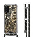 Design hoesje met koord voor de Samsung Galaxy S20 - Bladeren - Goud