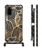 Design hoesje met koord voor de Samsung Galaxy S20 - Bladeren - Goud / Zwart
