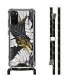 Design hoesje met koord voor de Samsung Galaxy S20 - Bladeren - Zwart / Goud