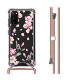 Design hoesje met koord voor de Samsung Galaxy S20 - Bloem - Roze