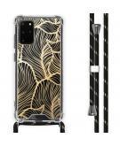 Design hoesje met koord voor de Samsung Galaxy S20 Plus - Bladeren - Goud