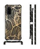 Design hoesje met koord voor de Samsung Galaxy S20 Plus - Bladeren - Goud / Zwart