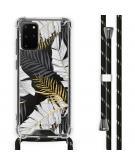 Design hoesje met koord voor de Samsung Galaxy S20 Plus - Bladeren - Zwart / Goud