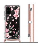 Design hoesje met koord voor de Samsung Galaxy S20 Plus - Bloem - Roze