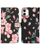 Design Softcase Book Case voor de iPhone 11 - Blossom Watercolor Black