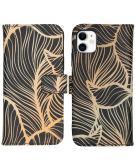 Design Softcase Book Case voor de iPhone 11 - Golden Leaves