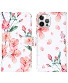 Design Softcase Book Case voor de iPhone 12 (Pro) - Blossom Watercolor White