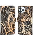Design Softcase Book Case voor de iPhone 12 (Pro) - Golden Leaves