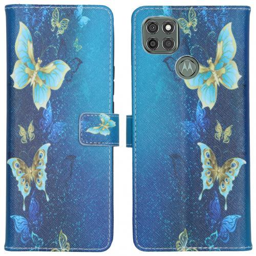 Design Softcase Book Case voor de Motorola Moto G9 Power - Blue Butterfly