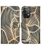 Design Softcase Book Case voor de Samsung Galaxy A52 (5G) / A52 (4G) - Golden Leaves