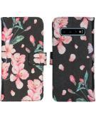 Design Softcase Book Case voor de Samsung Galaxy S10 - Blossom Watercolor Black