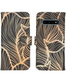 Design Softcase Book Case voor de Samsung Galaxy S10 - Golden Leaves
