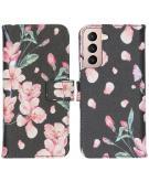 Design Softcase Book Case voor de Samsung Galaxy S21 - Blossom Watercolor Black