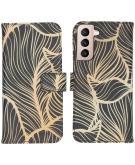 Design Softcase Book Case voor de Samsung Galaxy S21 - Golden Leaves