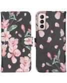 Design Softcase Book Case voor de Samsung Galaxy S21 Plus - Blossom Watercolor Black