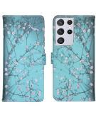 Design Softcase Book Case voor de Samsung Galaxy S21 Ultra - Bloesem