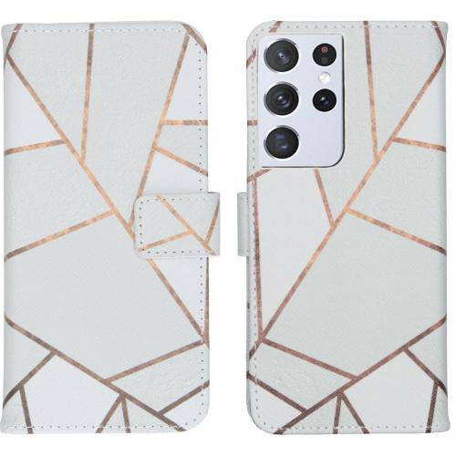 Design Softcase Book Case voor de Samsung Galaxy S21 Ultra - White Graphic