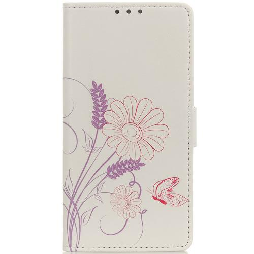 Design Softcase Booktype voor de Alcatel 3X (2019) - Butterfly and Flower