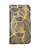 Design Softcase Booktype voor de iPhone 12 5.4 inch - Goud Bladeren