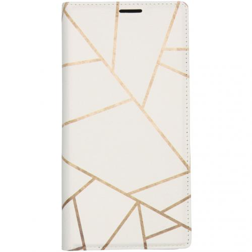 Design Softcase Booktype voor de Samsung Galaxy Note 10 Plus - Grafisch Wit / Koper