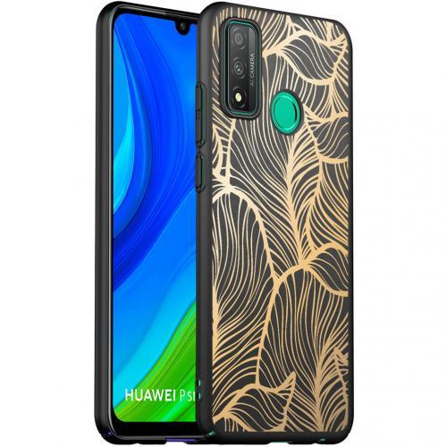 Design voor de Huawei P Smart (2020) hoesje - Bladeren - Goud / Zwart