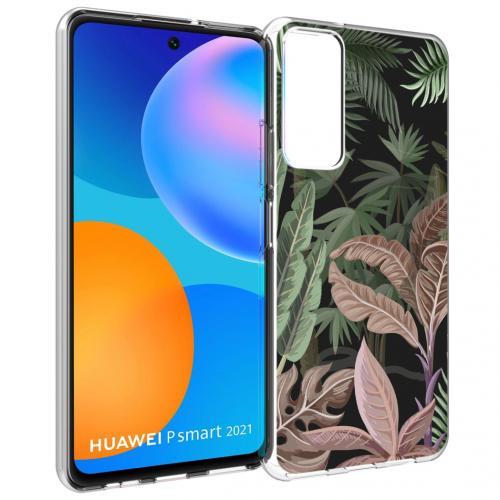 Design voor de Huawei P Smart (2021) hoesje - Jungle - Groen / Roze