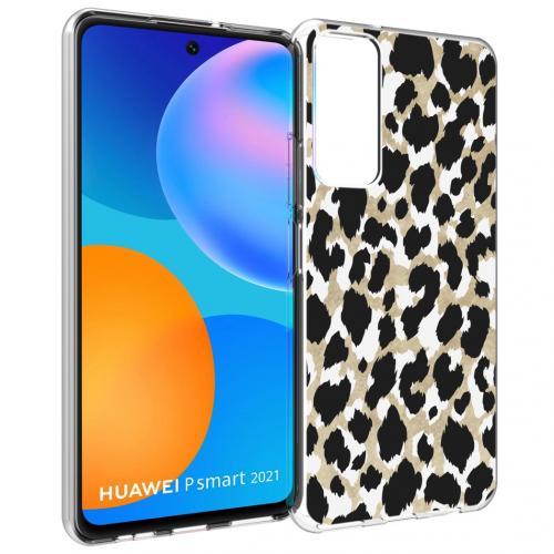 Design voor de Huawei P Smart (2021) hoesje - Luipaard - Goud / Zwart