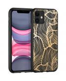 Design voor de iPhone 11 hoesje - Bladeren - Goud / Zwart