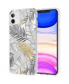Design voor de iPhone 11 hoesje - Bladeren - Zwart / Goud