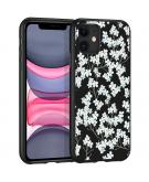 Design voor de iPhone 11 hoesje - Bloem - Wit / Zwart