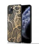 Design voor de iPhone 11 Pro hoesje - Bladeren - Goud / Zwart