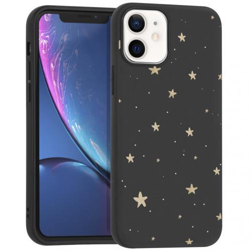 Design voor de iPhone 12 Mini hoesje - Sterren - Zwart / Goud