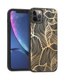Design voor de iPhone 12 Pro Max hoesje - Bladeren - Goud / Zwart