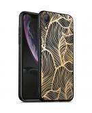 Design voor de iPhone Xr hoesje - Bladeren - Goud / Zwart