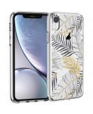 Design voor de iPhone Xr hoesje - Bladeren - Zwart / Goud